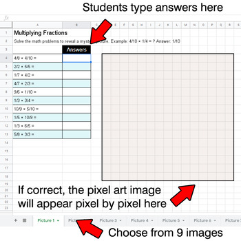 Multiplying Fractions - Google Sheets Pixel Art - Robots