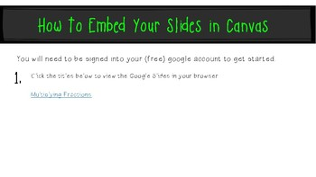 Multiplying Fractions: Google Slides to Embed in Canvas