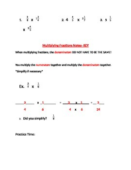Multiplying Fractions Guided Notes