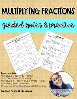 Multiplying Fractions Guided Notes and Puzzle