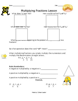 Multiplying Fractions Lesson Hand-out