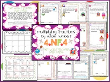 Multiplying Fractions Math Centers {aligned to Common Core 4.NF.4}