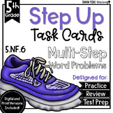 Multiplying Fractions Math Multi-Step Word Problems Task Cards 5th Grade 5.NF.6