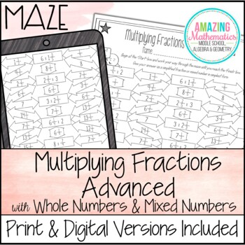 Multiplying Fractions Maze - Advanced