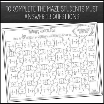 Multiplying Fractions Maze - Beginner