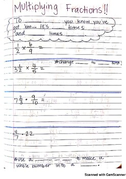 Multiplying Fractions & Mixed Numbers Journal Notes PDF
