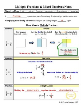 Multiplying Fractions & Mixed Numbers Notes