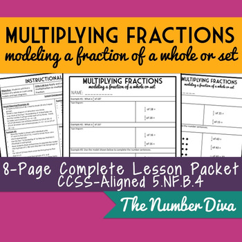 Multiplying Fractions: Modeling a Fraction of a Whole, Practice Packet + Quiz
