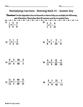 Multiplying Fractions Morning Math