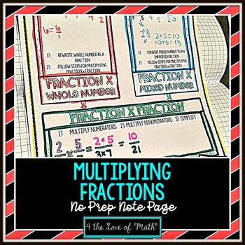 Multiplying Fractions No Prep Note Page