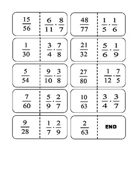 Multiplying Fractions No Reducing Dominos