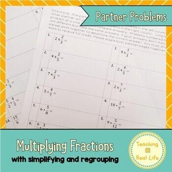 Multiplying Fractions Partner Problems