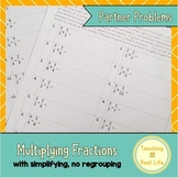 Multiplying Fractions Partner Problems with Simplifying, No Regrouping