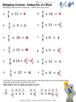 Multiplying Fractions Printable Worksheets - Selfchecking