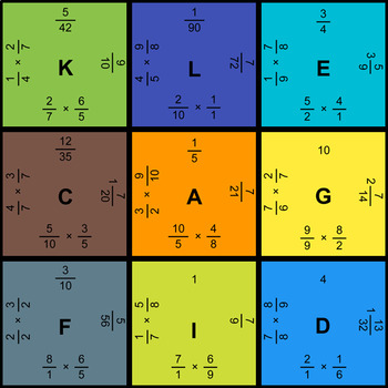 Multiplying Fractions - Puzzles with GOOGLE Slides