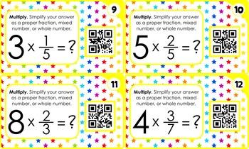 Multiplying Fractions QR Code Fun - 4.NF.B.4