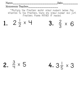 Multiplying Fractions Quick Quiz
