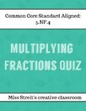 Multiplying Fractions Quiz FREEBIE
