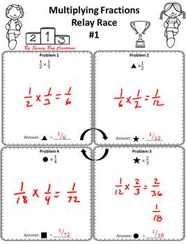 Multiplying Fractions Relay Race
