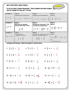 Multiplying Fractions Review