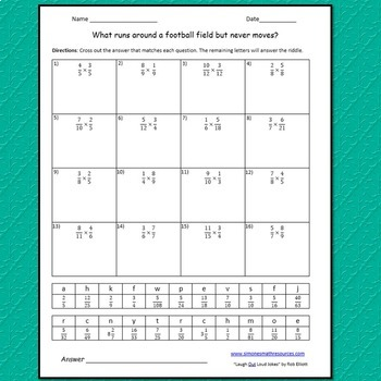 Multiplying Fractions Riddle