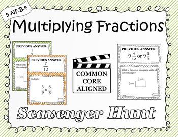 Multiplying Fractions - Scavenger Hunt (5.NF.B.4)