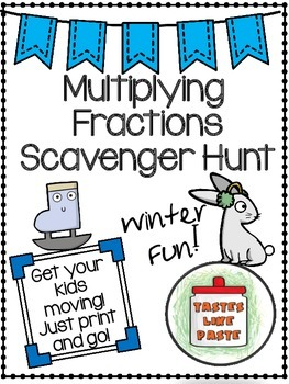 Multiplying Fractions Scavenger Hunt: Proper Fractions