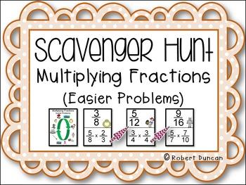 Multiplying Fractions Scavenger Hunt (Easier Problems)