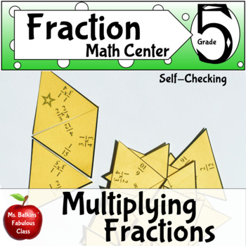 Multiplying Fractions Self Checking Math Center Activity