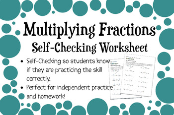 Multiplying Fractions and Mixed Numbers Self-Checking Worksheet