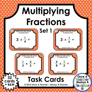Fraction Task Cards - Multiplying - Set 1