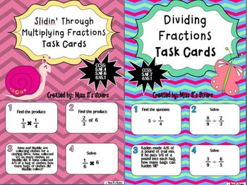 Multiplying Fractions Set of Task Cards AND Dividing Fractions Set