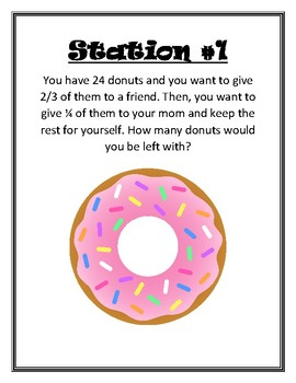 Multiplying Fractions Stations Word Problems