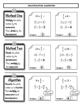 Multiplying Fractions Study Guide / Student Notes