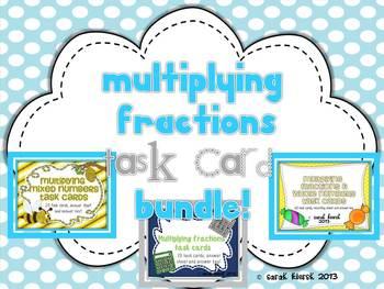 Multiplying Fractions Task Card Bundle