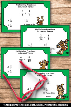 Multiplying Fractions Task Cards, 6th Grade Math Review, Fraction Games SCOOT