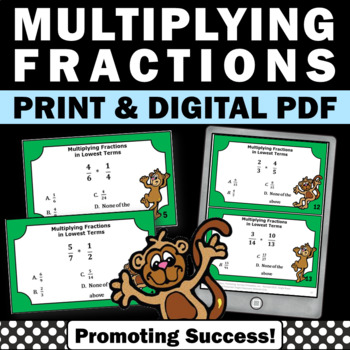 Multiplying Fractions Task Cards, 5th Grade Math Centers