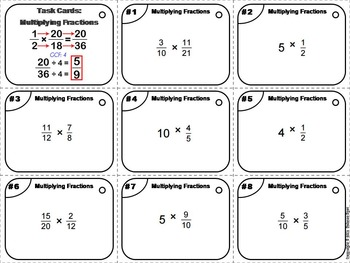 Multiplying Fractions Task Cards Practice Activity: 4th 5th 6th Grade