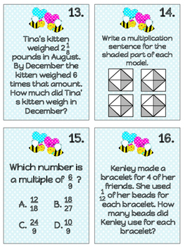 Multiplying Fractions Task Cards - Aligned with FSA and Common Core