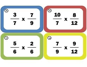 Multiplying Fractions Task Cards: Fraction-Multiplication Flash Cards