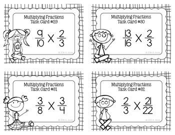 Fraction Task Cards Multiplying Fractions