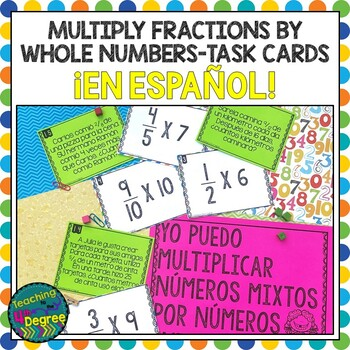 Multiplying Fractions Task Cards -Tarjetas de Trabajo SPANISH