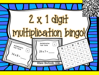 2 x 1 digit Multiplication Task Cards and Bingo Game!