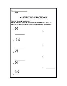 Multiplying Fractions Test