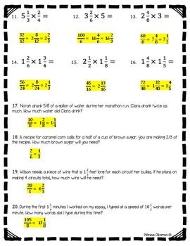 Multiplying Fractions Test (5.NF.B.4, 5.NF.B.4.a, 5.NF.B.6)