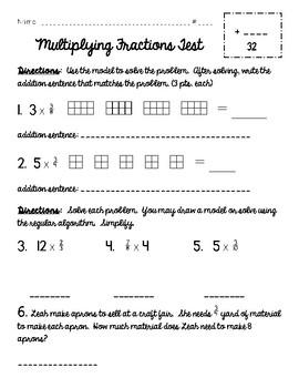Multiplying Fractions Test {Common Core Aligned for 5th Grade}