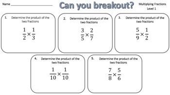 Multiplying Fractions – Two Breakout Activities!