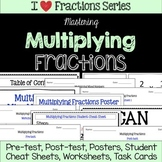 Multiplying Fractions Unit -Pretest, Post-test, Poster, Cheat Sheet, Worksheets