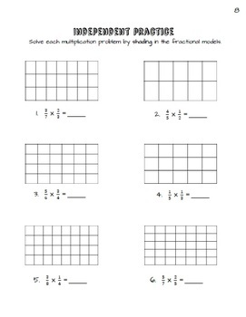 Multiplying Fractions Using Area Models Practice Packet (Common Core Aligned)