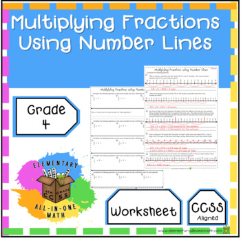 Multiplying Fractions Using Number Lines -  Worksheet (4.NF.4)